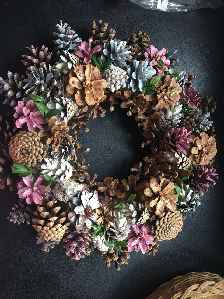 Pink pine cone wreath