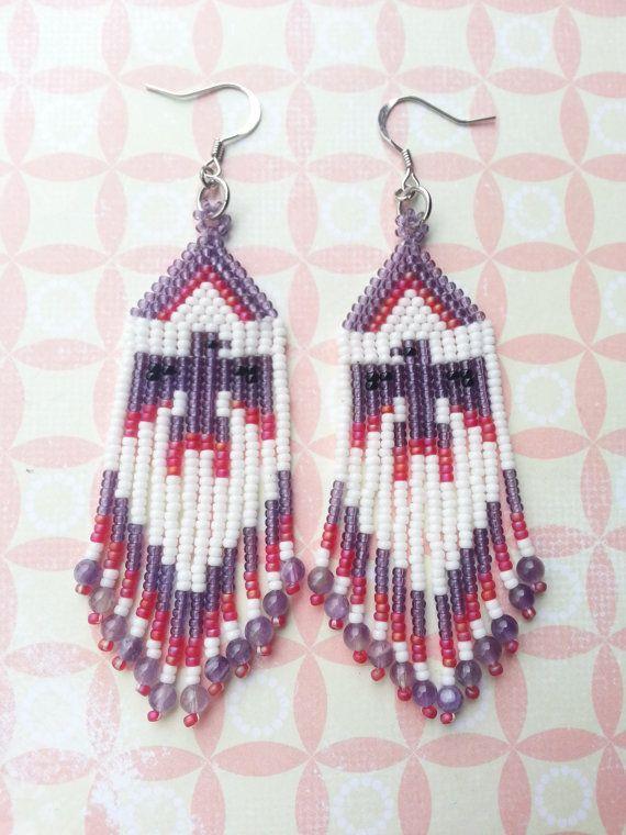Native American Beaded Thunder Bird Earrings