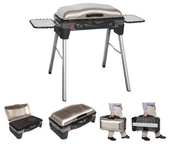 Beefeater Sportzgrill  All-in-one BBQ & Cooktop - Ideal for balconies & picnics. This BBQ can be placed on a benchtop or used as a free-standing unit using the Detachable Lightweight Aluminium legs provided. Legs & Shelves are stored on board for easy transport. Great for the Footy, Cricket or AFL or Family picnic.