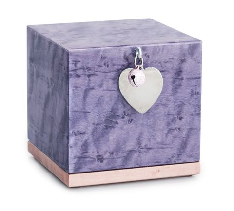 Pet Urn – Lilac Lacquered Wood Pet Urn with Charm