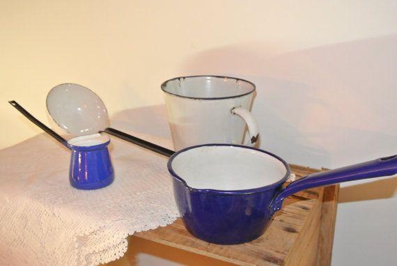 Vintage Enamelware Saucepan with Spout 2 Ladles by RiversideMills, $29.95