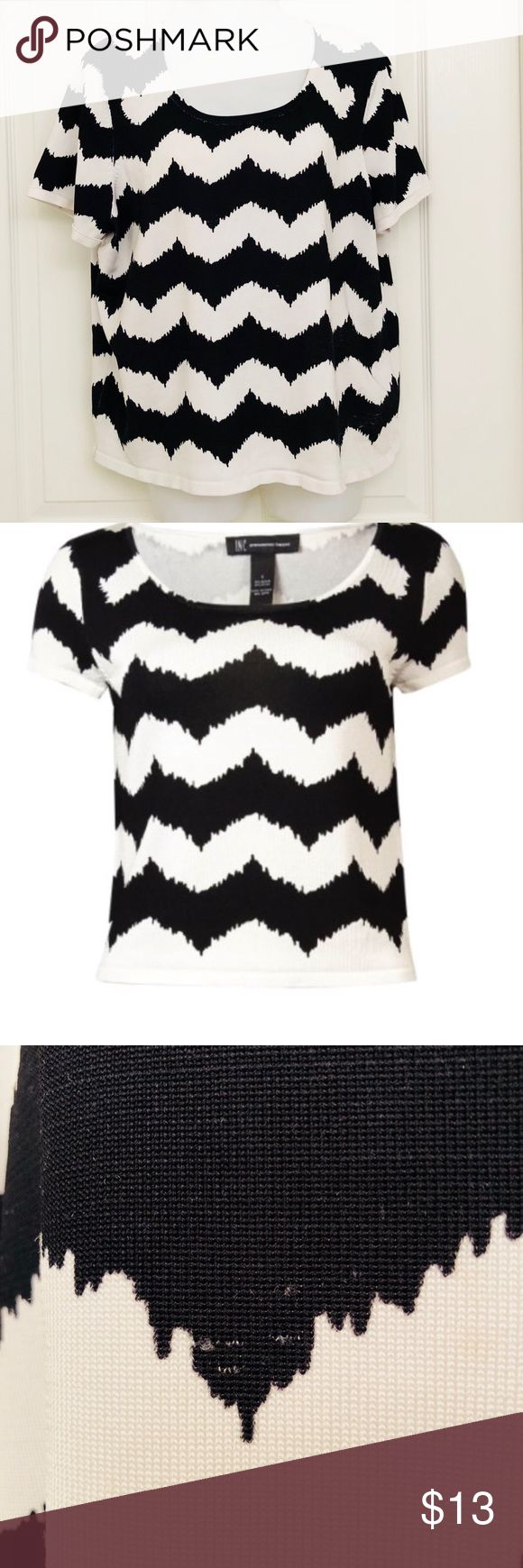 INC black and white chevron top. Short sleeve. 1x International concepts  chevron top black and white  size 1X  *has Pilling on the front left side please see photos* INC International Concepts Tops Blouses