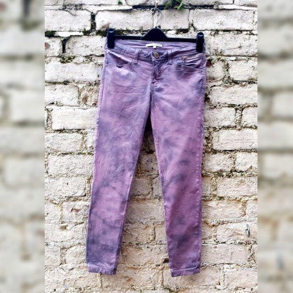 Pastel Goth Skinny Jeans Tie Dye Jeans Pink Jeans by AbiDashery