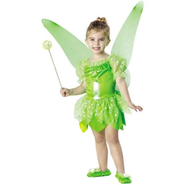Our toddler Tinkerbell costume Liquid lame character dress Attached sheer tutu Matching fairy wings Shoes and wand are not included Size: Toddler 2T-4T SKU: CA-