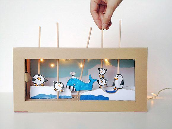 DIY Cardboard Shoebox Theater (with working lights!)