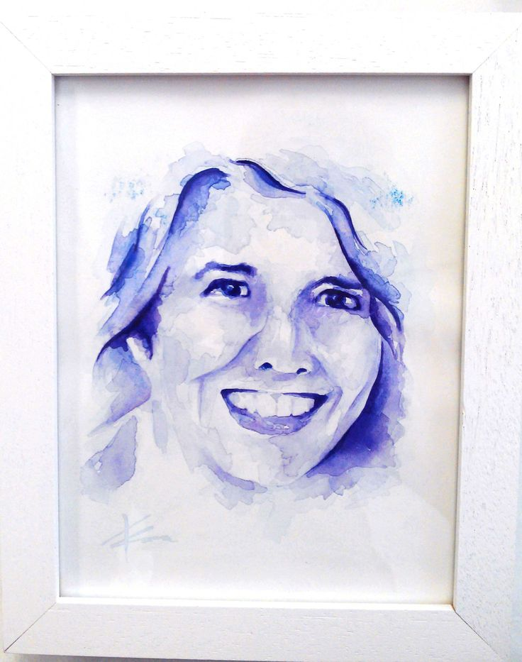 Chantal's mum, watercolour portrait by Tasneem Kamies for KIN on Kloof's Mother's Day window exhibition  For more info on this exhibit- http://bit.ly/1rBb0yS  kinshop.co.za - growing local art & design