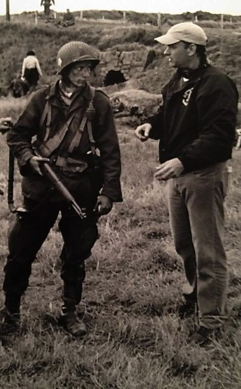 Ross Mccall and Tom Hanks at the set of Band of Brothers