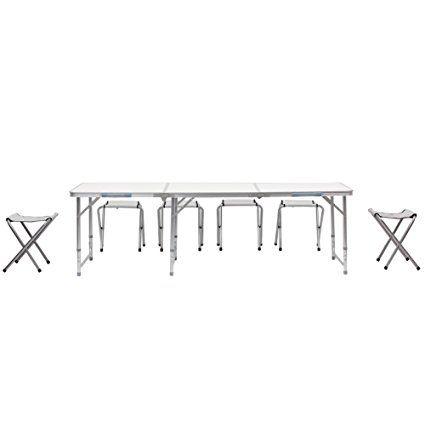 Amzdeal Tavolo pieghevole bianco all'aperto 1,8 m con sette sedie bianche, ideale per campeggio, picnic, spiaggia, giardino, feste, ecc.