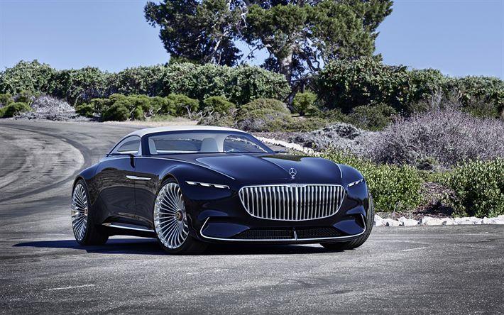 Indir duvar kağıdı 6 Mercedes-Benz Vision Maybach, 2018, Cabriolet Konsepti, Lüks arabalar, mavi cabriolets, Mercedes
