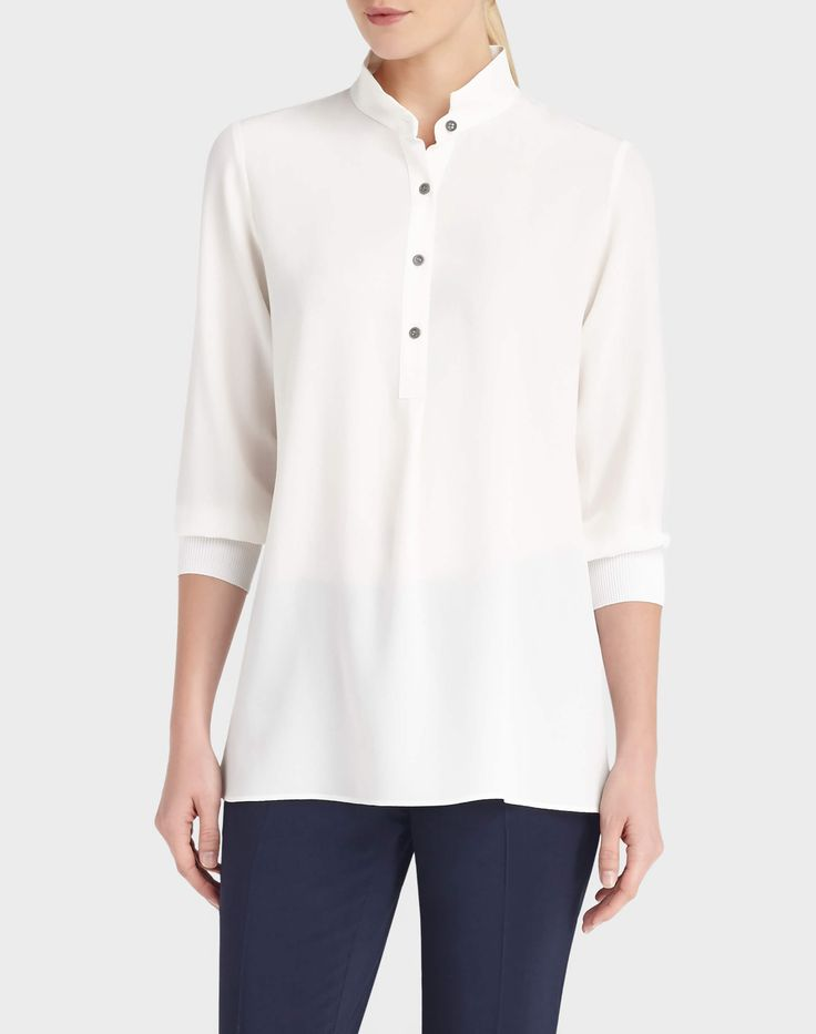 Lightweight Sandwashed Creped de Chine Declan Blouse - Blouses & Shirts - Collection | Lafayette 148 New York