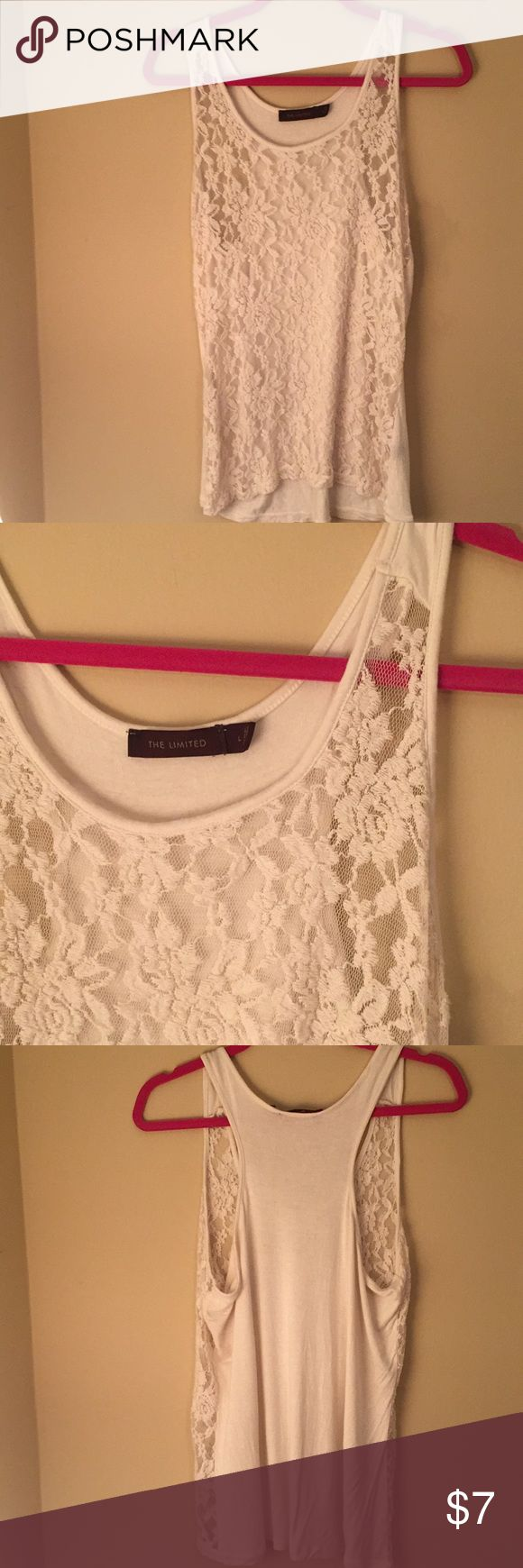 The Limited lace tank top The Limited lace tank top. Size Large. Off-white/ cream color. Purchased on Posh, but ended up being too big for me. The Limited Tops Tank Tops