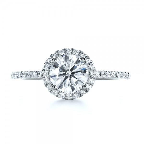 Engagement Rings / Custom Diamond Halo Engagement Ring - Custom Design Jewelers of Seattle and Bellevue - Joseph Jewelry