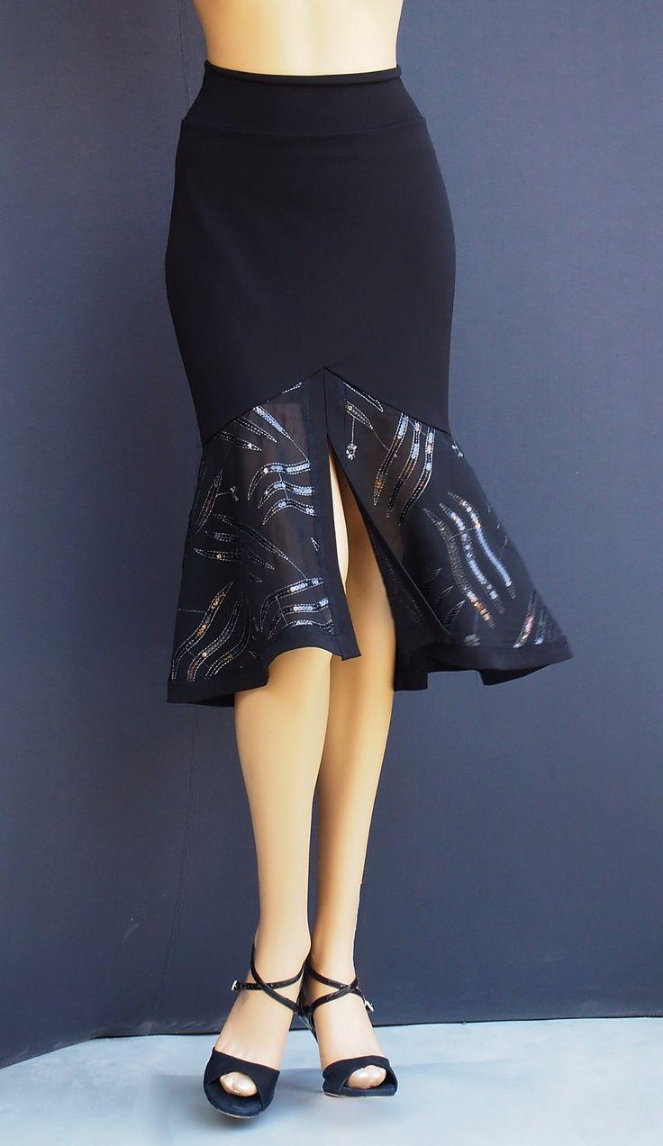 td 024 black chifon tango skirt