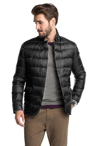 Esprit / Lichte donzen jas met bikerstijl