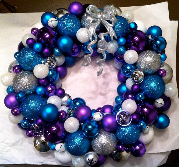 New Christmas wreath?  Teal, purple, and silver are our colors after all.