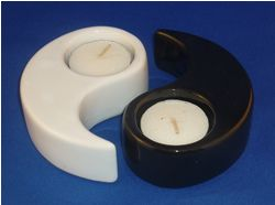 Ceramic Yin and Yand Tea Light Holders from Absolute Angels Classic black and white Yin and Yang symbols made of ceramic to hold a tea lite in each one Bring a little balance and order to your life  £2.99