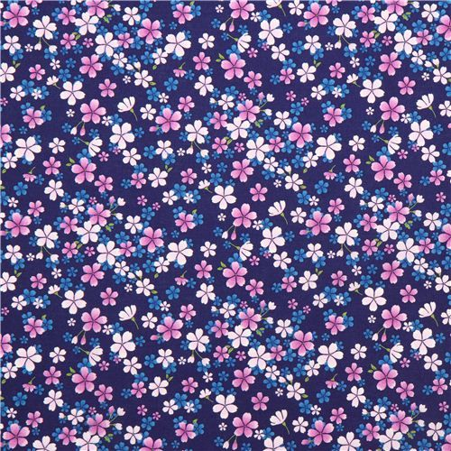 navy blue asia fabric with purple and pink cherry blossom