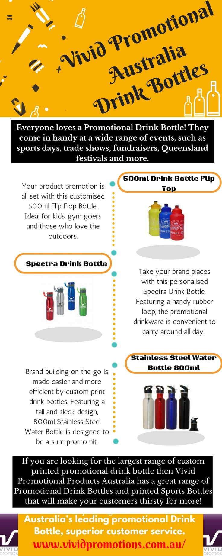 Find out customised Drink Bottle or many other promotional products at Vivid Promotions Australia to promote your brand. Here at vividpromotions.com.au we have a massive range of drink bottles including running water bottles, blender bottles and sports drink bottles and more. #PromotionalProductsInAustralia #MerchandiseItems #PromotionalDrinkBottles #PersonalisedPrintedProduct #PromotionalWaterBottle #MetalDrinkBottles #AluminiumBottles