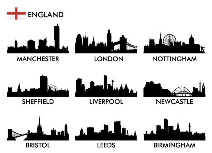PSD Исходник - Силуэты городов Англии в векторе