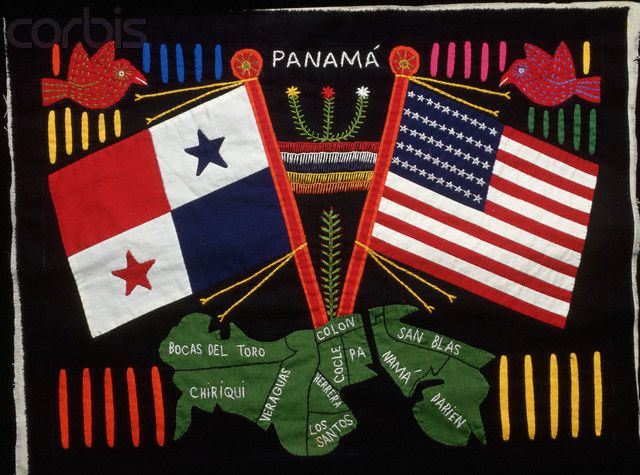 Mola with Panamanian and American Flags