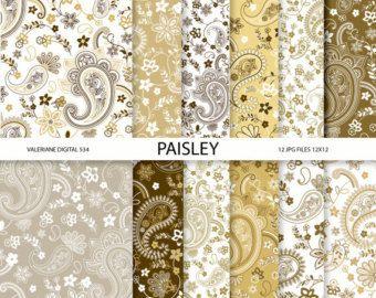 Paisley Digital paquete de papel, papel marrón scrapbook, jpg 12 12 x 12 - Pack de descarga instantánea 534