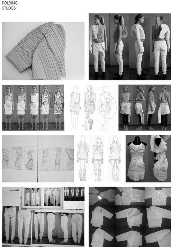 ILLUSTRATION || Fashion Sketchbook - fashion design sketches, folded fabric manipulation samples & design development - the creative process; fashion portfolio, Kirsten Enkelmann