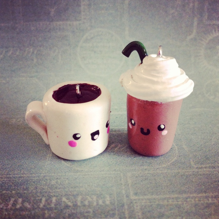 Coffee + Frappucino Kawaii Charms  Handmade from polymer clay