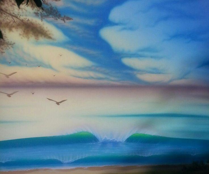 By willy nicholls..airbrush..2015..surfart.. ..sunrise..