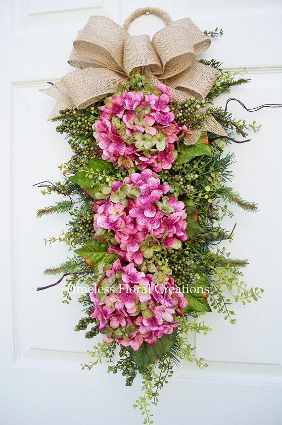 Hydrangea Door Wreath Swag Pink Passion by timelesshomedecor