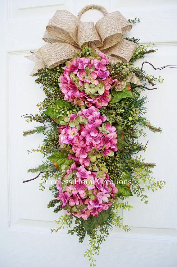 Hydrangea Door Wreath Swag Pink Passion by timelesshomedecor