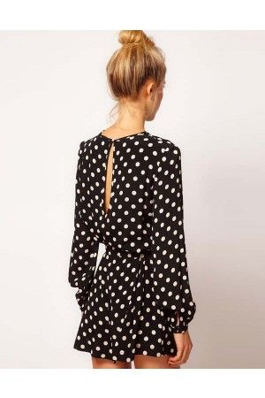 Dots Print Back Slit Long Sleeves Romper Shorts @ Rompers And Jumpsuits For Women-Strapless Jumpsuit,Long Sleeve Jumpsuit,Long Sleeve Romper,Short Rompers,Floral Romper,Strapless Romper,Floral Jumpsuit,Backless Jumpsuit,Black Jumpsuit,Denim Jumpsuit,V Neck Jumpsuit