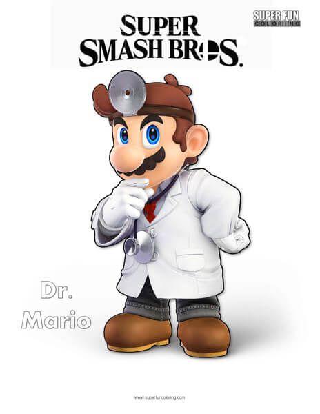 Dr Mario Super Smash Bros Ultimate Nintendo Coloring Page Super
