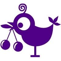 Birdie mit Kirschen, lila, Velours-Motiv zum Aufbügeln - PeppAuf.de