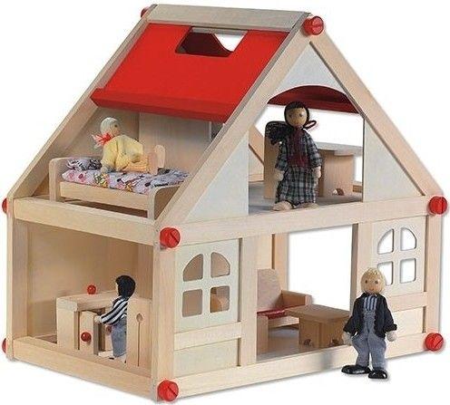 Dit leuke poppenhuis wordt geleverd inclusief alle getoonde meubeltjes en poppetjes. Op de begane grond bevindt zich de keuken en woonkamer waar de bewoners lekker kunnen bijkletsen. Op de eerste verdieping is een slaapkamer en een studeerkamer. Een mooi compact huis dat ook nog eens heel eenvoudig in elkaar te zetten is door middel van de rode houten schroeven.  Afmetingen: Poppenhuis: Breedte 39,5cm x Diepte 26cm x Hoogte 37cm Poppenhuispoppetjes: Vader en Moeder Hoogte 10,5cm x Breedte…