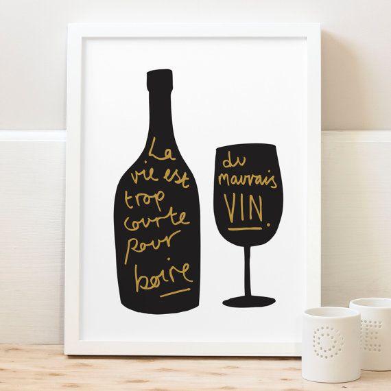 A4 Impression vin Français - cuisine Print - décor Français - vin affiche