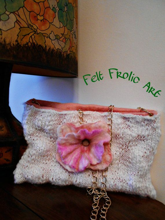 pink & white crochet bag wet felted flower brooch by FeltFrolicArt