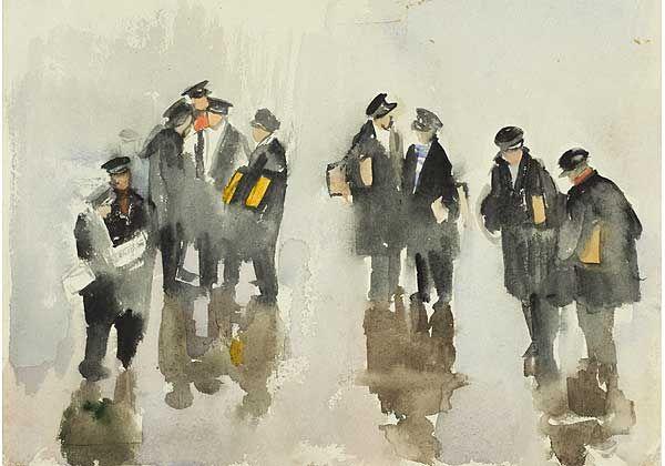 """""""После дождя"""", бумага, акварель, 1950-е"""