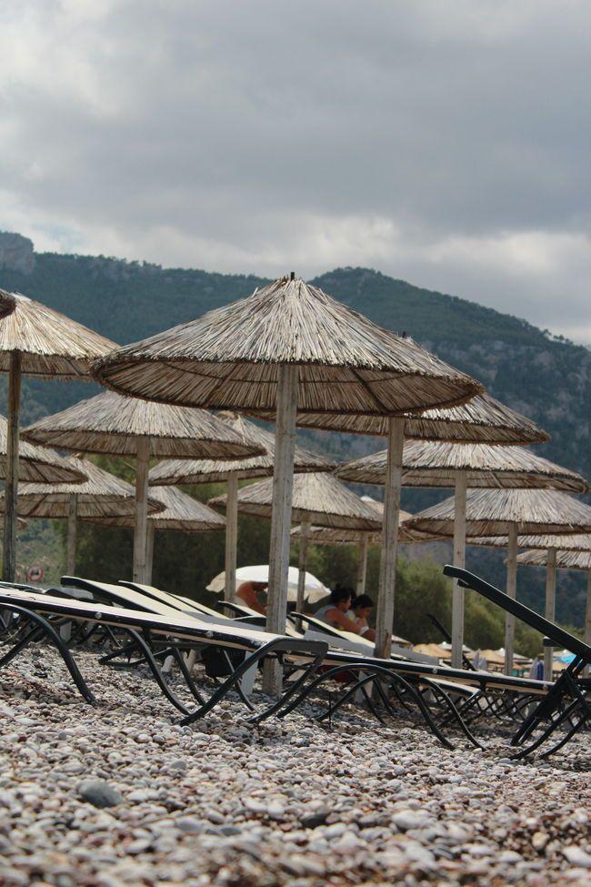 Rest Beach Chair Cloud Day Mountain Outdoors Rock Umbrella Vacation