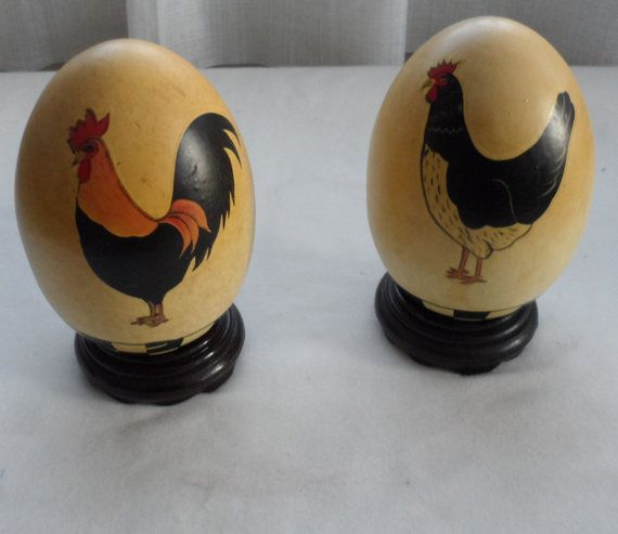 Vintage PAIR CERAMIC Decorated Roosters EGGS with Round Wooden Stands/Rooster Decorated Egg Ornaments/Rustic Decor/Ornamental Eggs on Stands