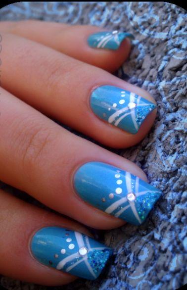 Azzurro glitter strass strisce bianche