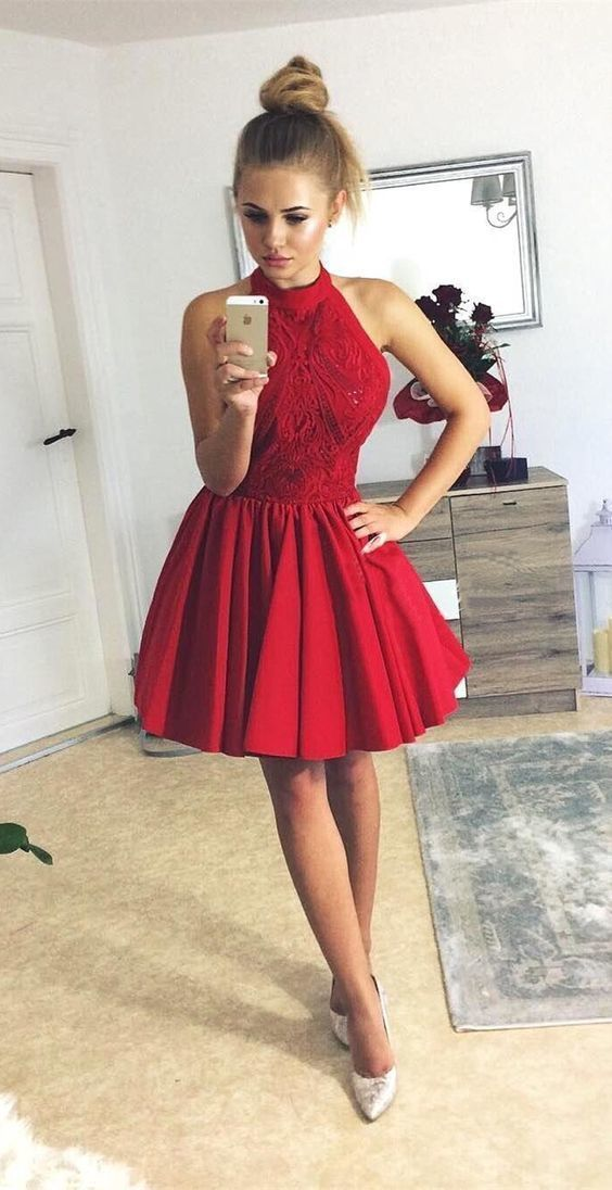 f60f9e7aaa A-Line Halter Sleeveless Short Red Satin Homecoming Dress with Lace Beading  by Hiprom