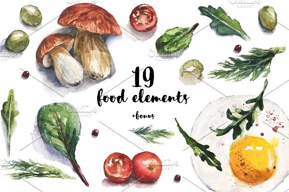 Watercolor food/veg illustrations by Watercolor Art on @creativemarket