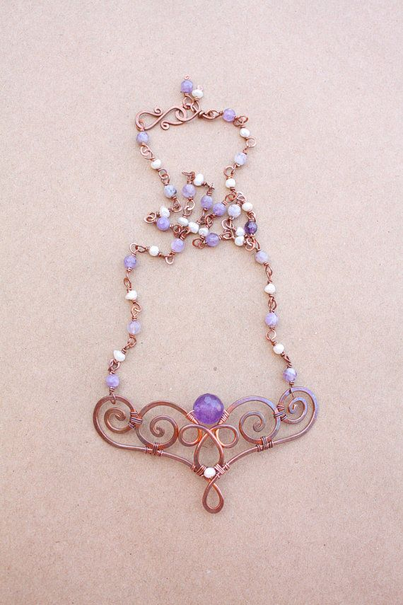 Wire wrap necklace copper amethyst and by SusyDeMarchiJewelry