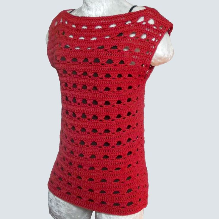 Free #crochet pattern: Simple Lace Summer Top in 5 sizes by CrochetNCrafts