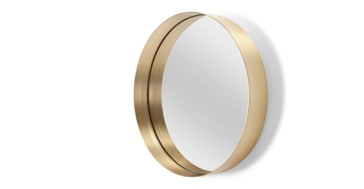 Alana Round Mirror, Brushed Brass
