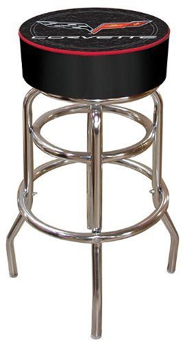 Trademark Corvette C6 Padded Bar Stool - Black by Trademark Global. $84.94. adjustable levelers. Chrome plated double rung base. Great for gifts and recreation decor. 7.5 in X 14.75 in diameter padded commercial grade vinyl seat. Officially Licensed logo. The officially licensed Cheverolet Corvette C6 logo padded bar stool will be the highlight of your bar and gameroom. A 30-inch high bar stool great for bar pub table and bars. Great for gifts and recreation decor.