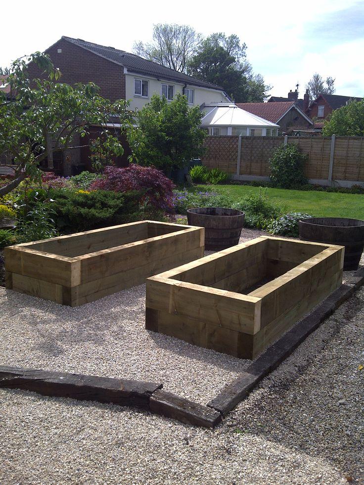 Sleeper raised beds for veg growing.