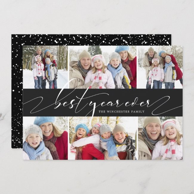 Elegant New Year Collage 6 Photo Holiday Card Zazzle Com Holiday Photo Cards Holiday Design Card Holiday Cards