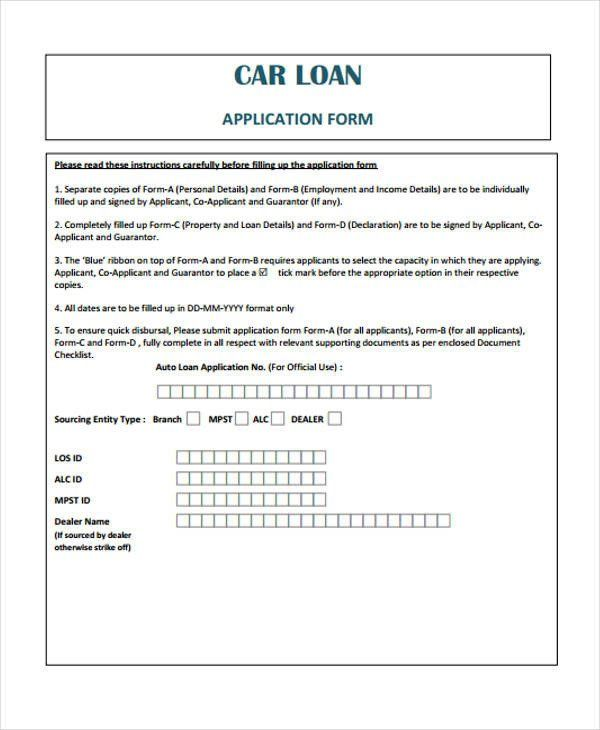 28 Car Loan Application Form Template In 2020 Contract Template