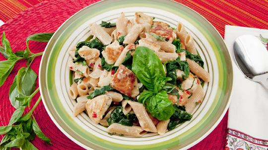 Creamy Chicken and Spinach Pasta - Recipes - Best Recipes Ever - This pasta is packed with nutrients: potassium from the spinach and calcium from the evaporated milk, which has 80 per cent more calcium than regular milk. Serve with a crisp green salad....